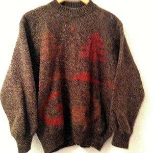 Sisley Holiday Sweater Mens Size Large Brown Orang